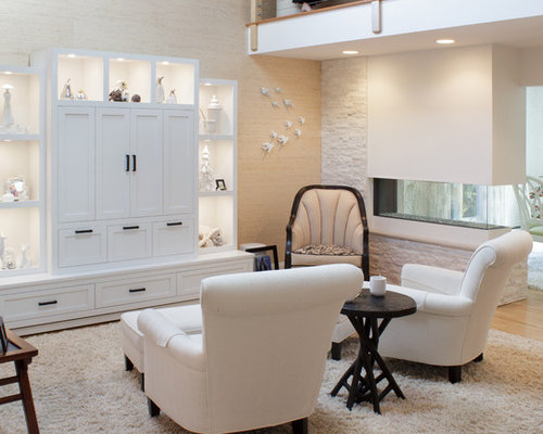 Example Of A Transitional Formal And Enclosed Light Wood Floor And Beige  Floor Living Room Design