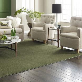 Ispirazione per un soggiorno contemporaneo di medie dimensioni e aperto con sala formale, nessun camino, nessuna TV, pavimento bianco, pareti verdi e pavimento in vinile