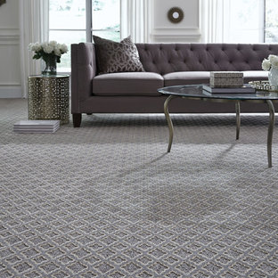 Inspiration for a mid-sized contemporary formal and open concept carpeted and gray floor living room remodel in Orange County with white walls, no fireplace and no tv