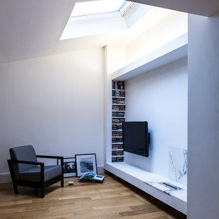 Immagine di un piccolo soggiorno contemporaneo aperto con sala formale, pareti bianche, camino lineare Ribbon, cornice del camino in intonaco e TV a parete