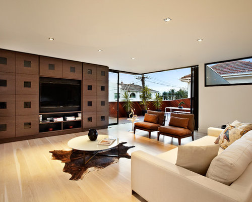 Inspiration For A Contemporary Living Room Remodel In Melbourne With Media Wall