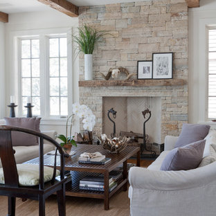 Beach style living room photo in New York