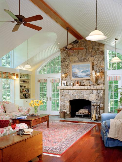 Family Room Stone FireplaceHouzz