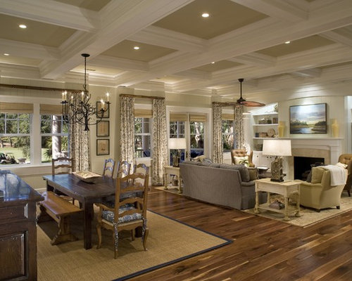 Victorian Open Concept Living Room Idea In Charleston With A Standard Fireplace And Media Wall