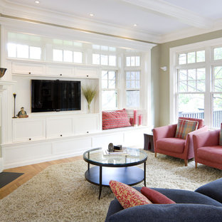 Example of an ornate living room design in Boston with a corner fireplace and a tile fireplace