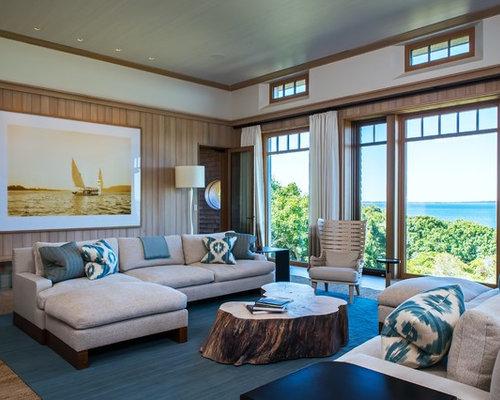 maritime wohnzimmer mit braunen w nden ideen design. Black Bedroom Furniture Sets. Home Design Ideas