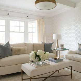 Living room - mid-sized transitional formal and enclosed carpeted and beige floor living room idea in DC Metro with white walls, no fireplace and no tv