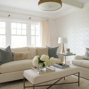 Idee per un soggiorno tradizionale di medie dimensioni e chiuso con sala formale, pareti bianche, moquette, nessun camino, nessuna TV e pavimento beige