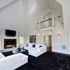Transitional Living Room by Wright Building Company