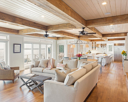 living room large beach style open concept light wood floor living room idea in new - Living Room Track Light