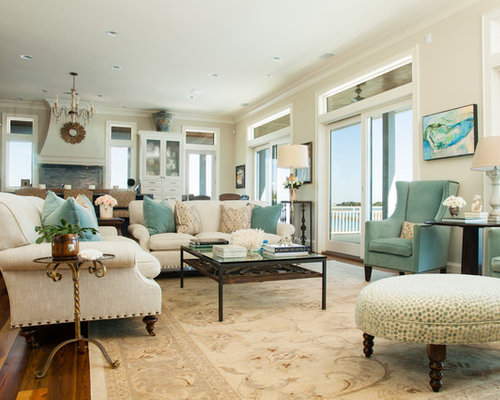 Beige with teal accent living room design ideas remodels photos