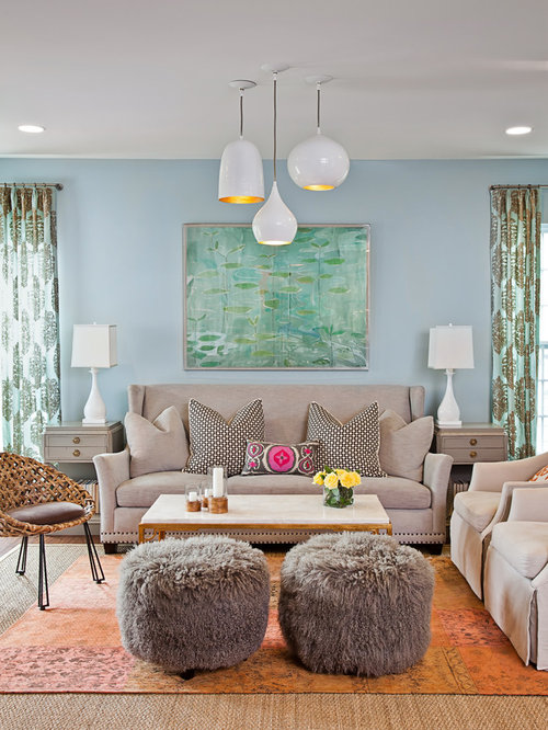Pier 1 Living Room Design Ideas Remodels Photos With Blue Walls Houzz