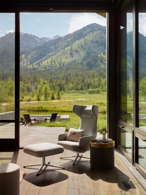 Rustic Green Living Room Design Ideas, Remodels & Photos
