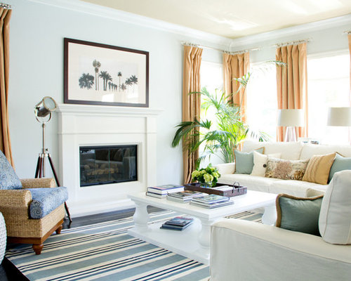Example Of A Mid Sized Island Style Living Room Design In Los Angeles With Gray