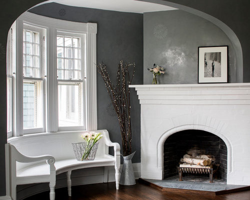 2420 Dark Grey Walls Living Room Design Photos With A Corner Fireplace
