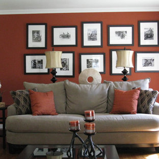 Living room - contemporary living room idea in Philadelphia with red walls