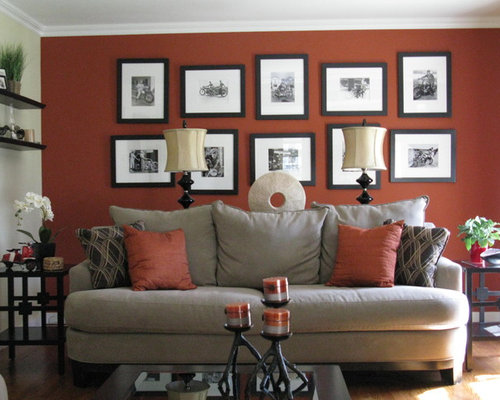 Contemporary Living Room Design Ideas Remodels Photos with Red