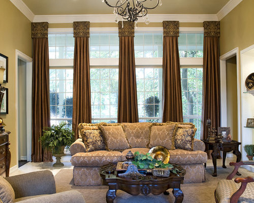 Inspiration For A Huge Mediterranean Formal And Open Concept Carpeted Living Room Remodel In Dallas With