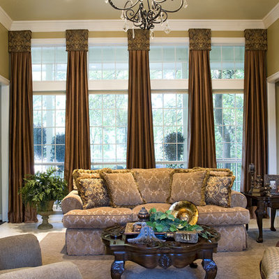 Inspiration for a huge mediterranean formal and open concept carpeted living room remodel in Dallas with a standard fireplace, beige walls and no tv