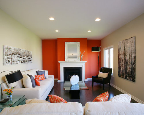 Burnt Orange Living Room Design Ideas Renovations Photos