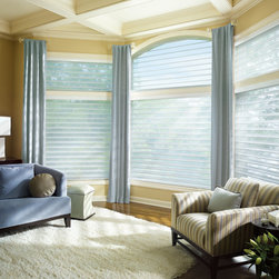 Silhouette® Quartette® window shadings with EasyRise™ cord loop - Silhouette® window shadings, with the Signature S-Vane™ , magically float between two sheers and diffuse harsh sunlight. Simply tilt the vanes to achieve your desired level of light and privacy.