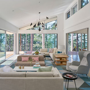 Inspiration for a large contemporary open concept concrete floor living room remodel in San Francisco with white walls
