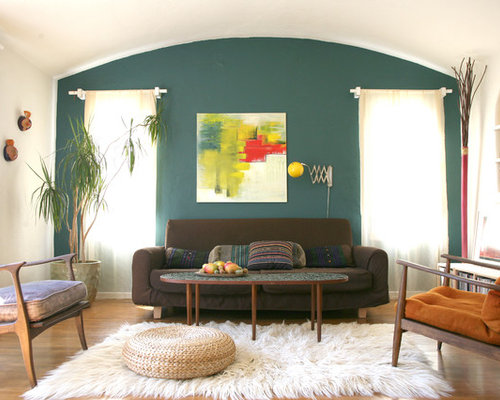 houzz  teal accent wall design ideas  remodel pictures, Living room