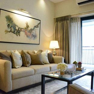 Foto di un piccolo soggiorno minimal chiuso con sala formale, pareti beige, pavimento in marmo, nessun camino e nessuna TV