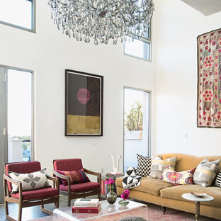 Inspiration For A Large Eclectic Open Concept Concrete Floor Living Room  Remodel In Los Angeles With