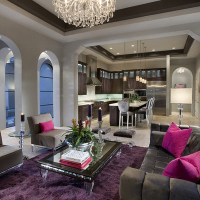 Inspiration for a contemporary open concept living room remodel in Phoenix with gray walls and no tv