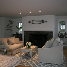 Beach Style Living Room by Tusk Home and Design, LLC