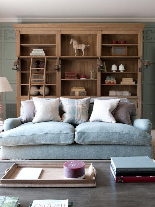 salon campagne avec un mur bleu photos et id es d co de salons. Black Bedroom Furniture Sets. Home Design Ideas