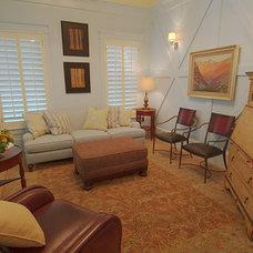 Farmhouse Living Room by Hyrum McKay Bates Design, Inc.