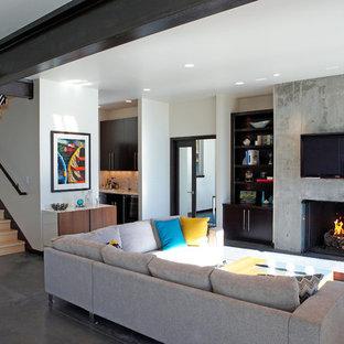 Foto di un soggiorno minimalista di medie dimensioni e aperto con angolo bar, camino classico, cornice del camino in cemento, TV a parete e pavimento grigio