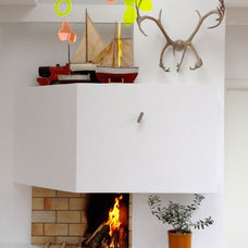 Contemporary Family Room Fireplace