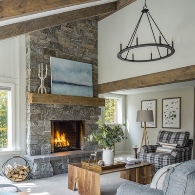 Living room - rustic open concept carpeted and gray floor living room idea in Burlington with white walls and a standard fireplace