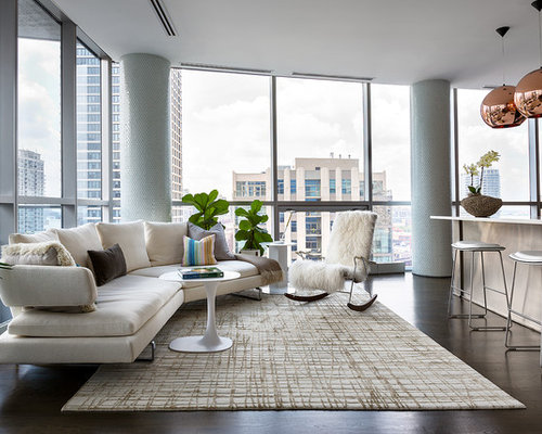 Example Of A Trendy Open Concept Living Room Design In New York With Dark  Wood Floors