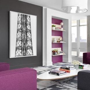 Cette photo montre un grand salon tendance avec un mur rose.