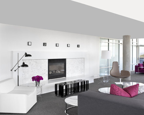 Inspiration For A Contemporary Gray Floor Living Room Remodel In Atlanta  With White Walls