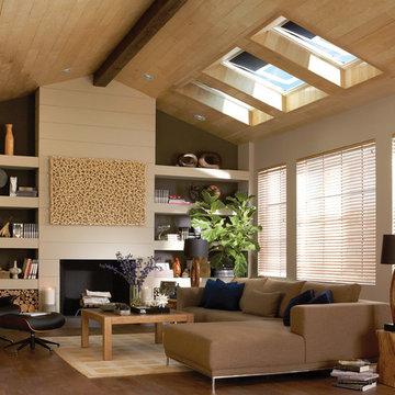Skylight blinds provide light control