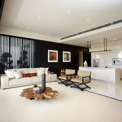 Living room - contemporary open concept living room idea in Singapore with black walls and no tv