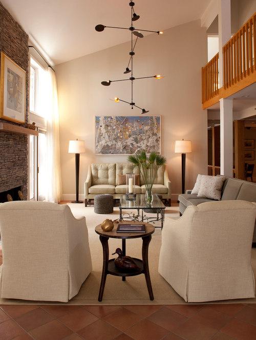83 Transitional Living Room With Terra Cotta Floors Design