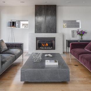 Imagen de salón abierto, actual, de tamaño medio, con paredes blancas, suelo de madera clara, chimenea tradicional y marco de chimenea de hormigón
