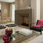 Bright White Fireplace Contemporary Living Room San
