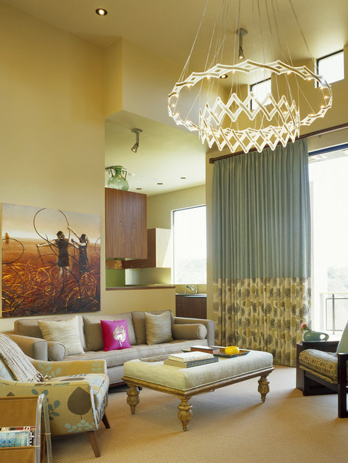 Yellow walls with curtains home design ideas pictures for Yellow modern living room ideas
