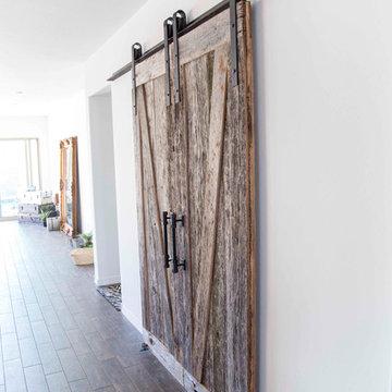 Sliding Barn Door - Bi-Part Z's Reclaimed Tobacco Barn Rough Grey/Smooth Brown