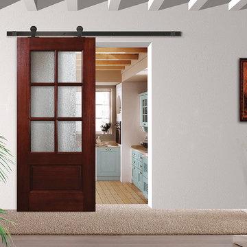Sliding Barn Doors-Mahogany True Divided Lite Doors • 6´8˝ Tall