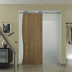 """Wood Sliding Doors - """"Duplex S"""" - Duplex S - Modern Barn Door Hardware is suitable for single or double bi-parting applications. The rail may be mounted to the wall, ceiling or stationary glass. Duplex S hardware is appropriate for use with wood doors only, minimum 13/16"""" thickness."""
