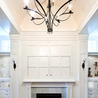 Sliding Panel Doors to Hide TV Above Fireplace
