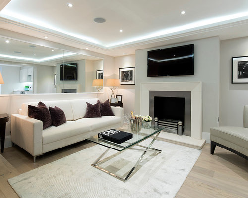 Living Room Contemporary Formal Light Wood Floor Idea In London With Gray Walls